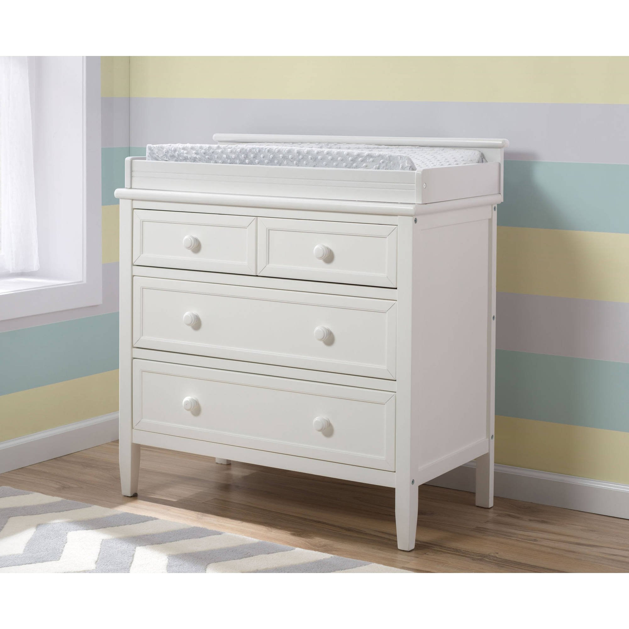 NEW! Delta Children Epic Signature Wood 3-Drawer Dresser with Changing Top for Kids with Ball Bearing Drawer Slides and Safety Stop, White