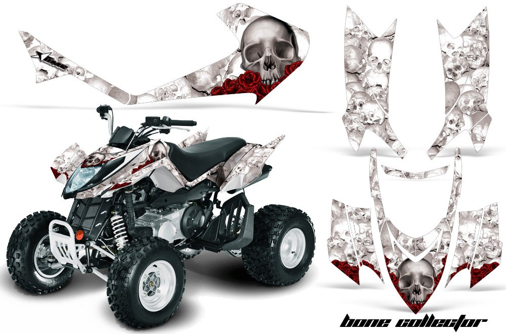 AMR Racing Graphics Decal Kit for ATV Arctic Cat DVX 400 300 All Years BONE COLLECTOR WHITE