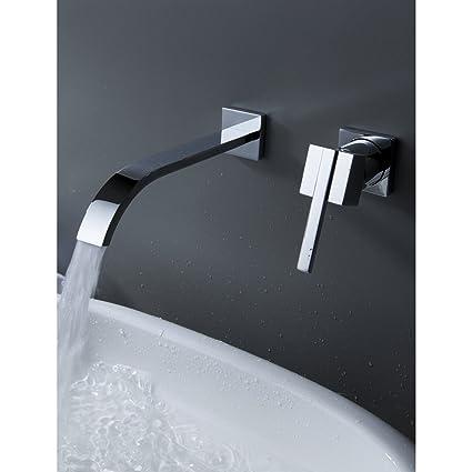 Ouku Wall Mount Contemporary Brass Widespread Waterfall Bathroom ...