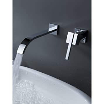 Ouku Wall Mount Contemporary Brass Widespread Waterfall Bathroom Sink Faucet Single Handle Bathtub Mixer Taps Bath