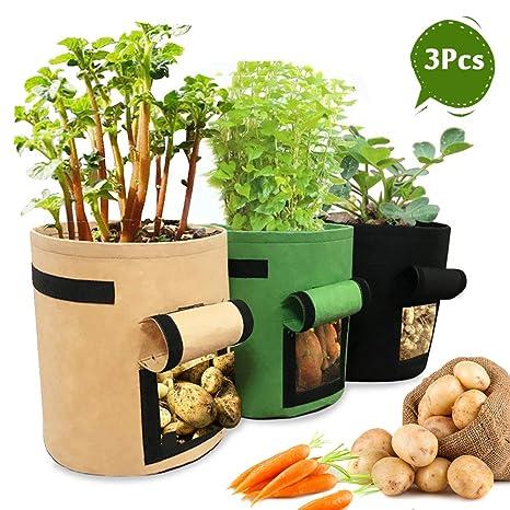 YAMI 3 Bolsas de Cultivo de Patata, 7 galones de Velcro ...