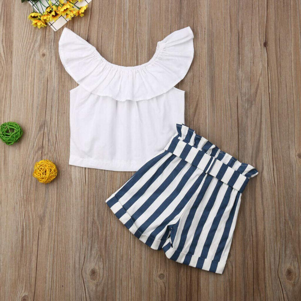 Baby Girl Off-Shoulder Sets, Kids Crop Top Ruffle Shirt Tops +Leopard Striped Shorts Pants Clothes Set (2-3 Years, Blue) by Hopwin Baby girls Suits (Image #2)