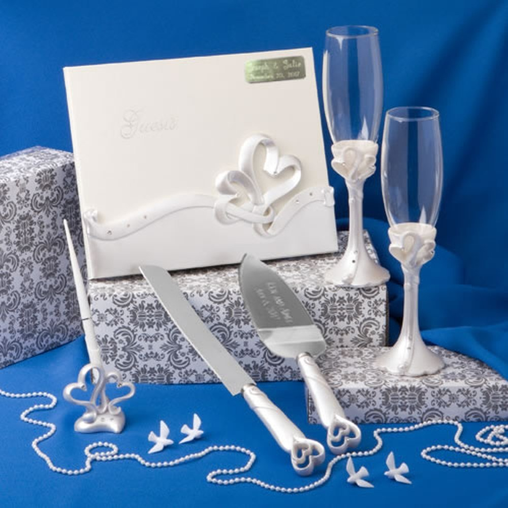 Engraved Wedding Day Interlocking Hearts Wedding Accessory Set: Egraved Cake and Knife Server, Engraved Book, 2 Champagne Flutes, Pen Set by FASHIONCRAFT