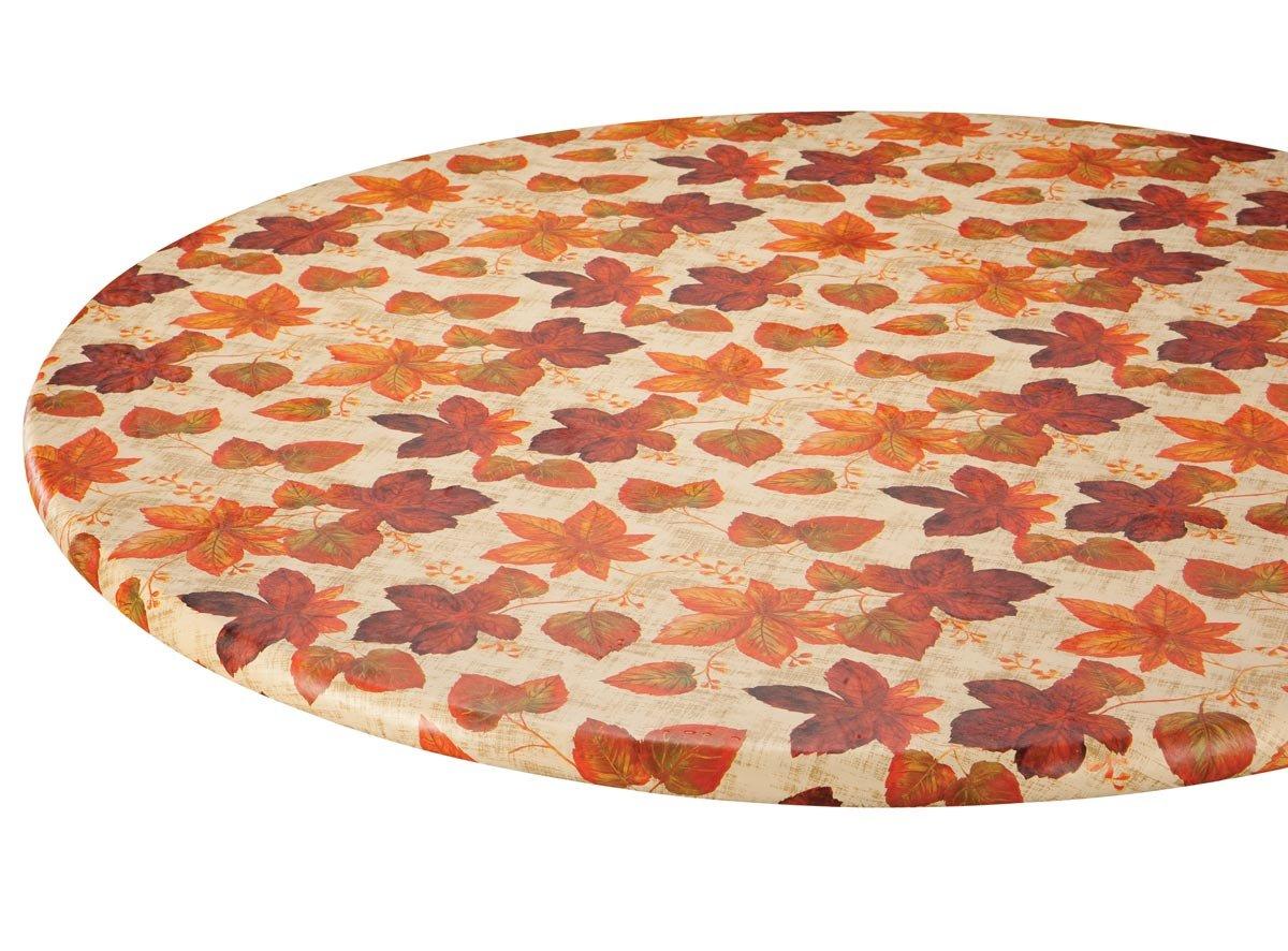 WalterDrake Autumn Leaves Elasticized Vinyl Table Cover 40'' - 44'' dia. Round