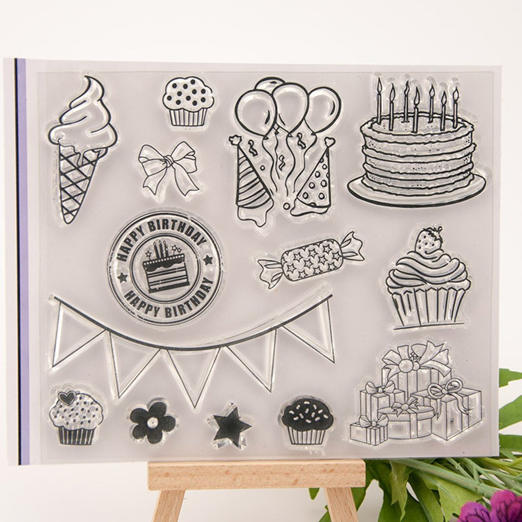 Yevison Clear Silicone Stamp Sheet Printing Scrapbooking Embossing Stamper Transparent Cling Seal for DIY Scrapbook Photo Albums Paper Notebook Card Making Arts Crafts Supplies Happy Birthday & Cake 1 Durable and Useful