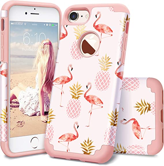 Pineapple iPhone 8 Case,iPhone 7 Case,Fingic Ultra Slim Floral Pineapple Cover Hard PC Soft Rubber Anti-Scratch Shockproof Protective Skin Cover for iPhone 7//iPhone 8,Floral Pineapple//Rose Gold