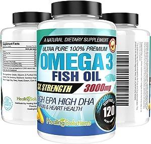 Ultra Pure Omega 3 Fish Oil (Triple Strength - 3000mg Per Serving) 120 Softgels High EPA and DHA Fatty Acids Supplement 3 x 1000 mg - 120 Pills
