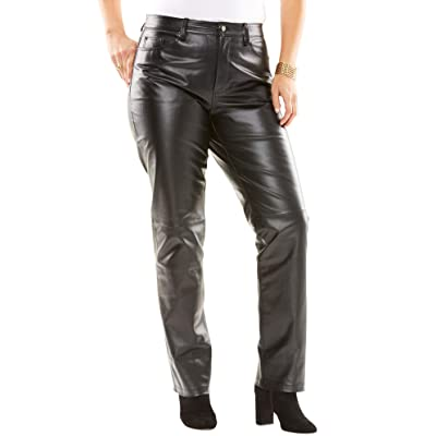 Jessica London Women's Plus Size Straight Leg Leather Pants at Women's Clothing store