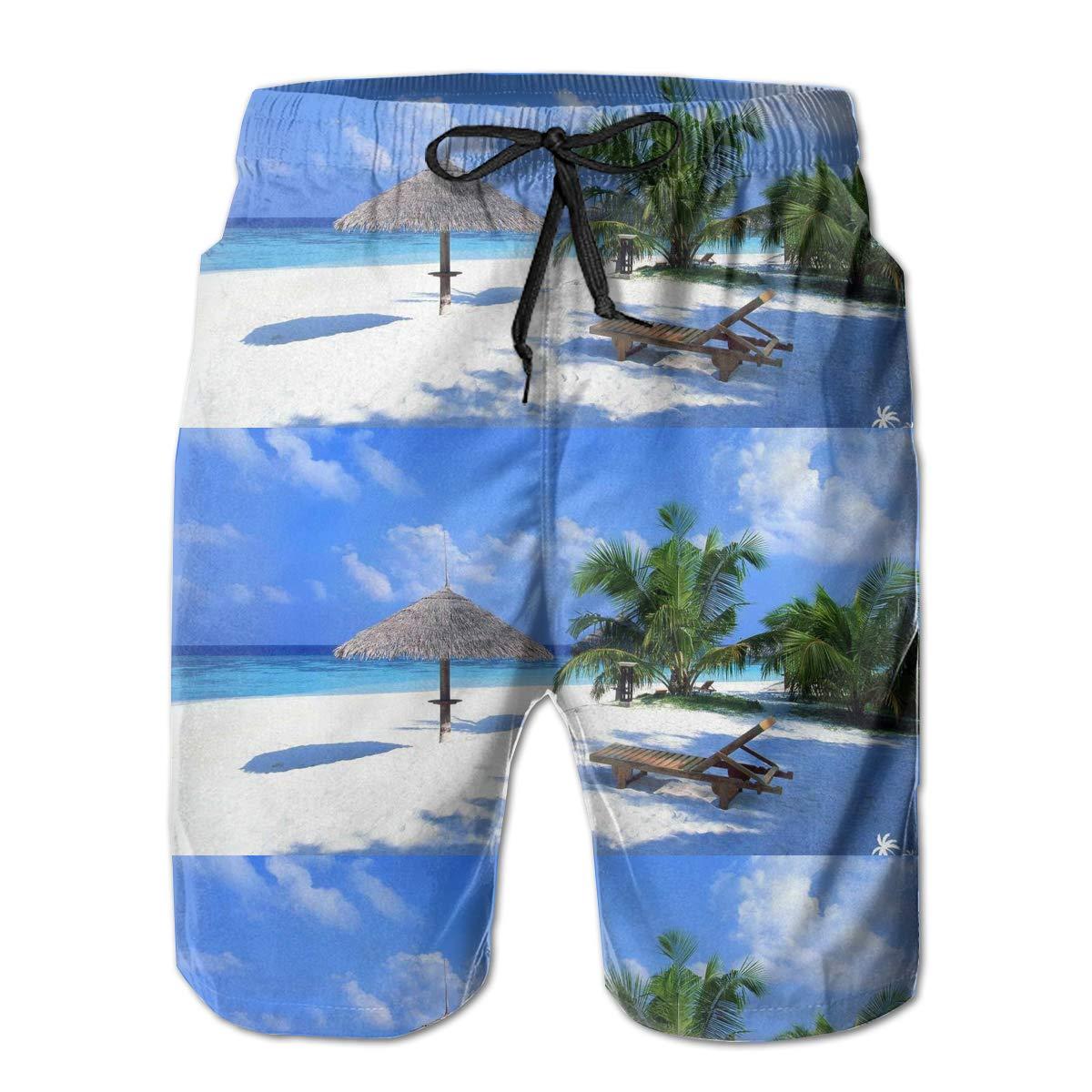 WMDJEG Sand Palm Tree Mens Summer Beachwear Sports Running Swim Board Shorts Mesh Lining