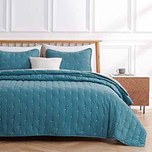 VEEYOO Quilt Sets Queen Bedspread - Teal Quilt Queen (92x92 inches) Unique Stitches Pattern Quilting Bedspread, 3-Piece Lightweight Coverlet for All Season, 1 Quilt 2 Shams