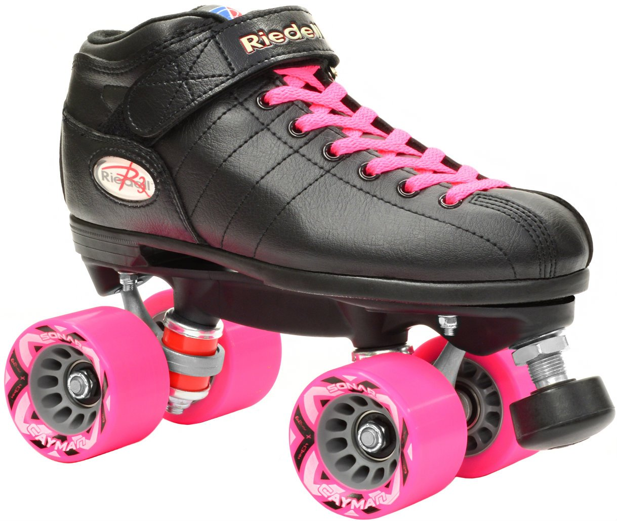 Riedell R3 Black & Pink Demon w/ Groove Quad Roller Derby Speed Skates w/ 2 Pair of Laces (Pink & Black) (Mens 8 / Ladies 9)