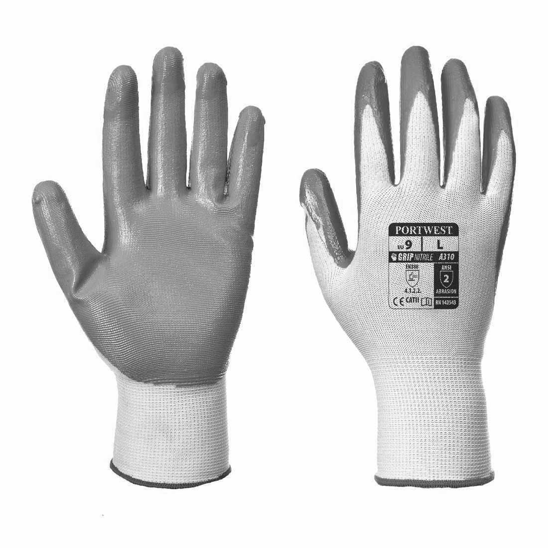 Flexo grip nitrile glove (A310)(Grey, XL) Portwest