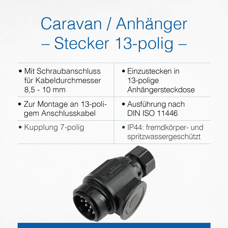 12 V Anschluss f/ür Camping /& Caravan IP44///////////// //&sh Wohnwagen /& Wohnmobil Zubeh/ör Adapter DIN 11446 mit Schraubanschluss Schwabe Stecker 13-polig as