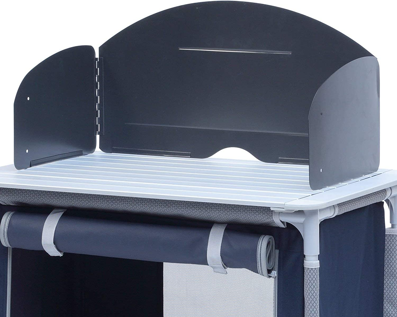 CAMPART Travel KI-0752 Cocina de camping Valencia, Con paravientos, Bolsa de almacenamiento incluida, 1 puerta, Azul