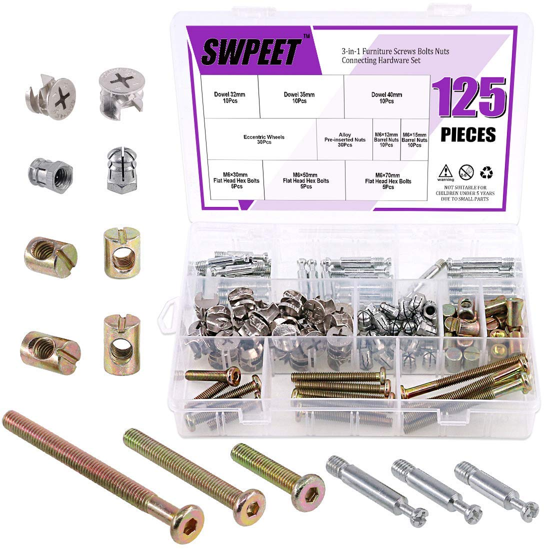 125Pcs 3 in 1 Furniture Cabinet Fixing Screw Locking Cam Bolt Nut Fitting Kit, Cam Fitting with Furniture Eccentric Fitting Furniture Side Connecting Pre-Inserted Nut Screw Eccentric Wheel