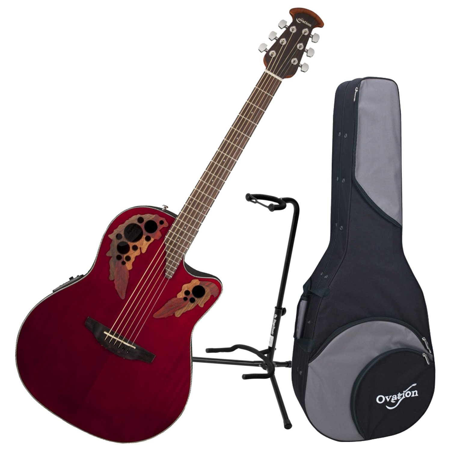 Ovation CE44-RR Acoustic-Electric Guitar (Ruby Red) w/ Case and Stand by Ovation