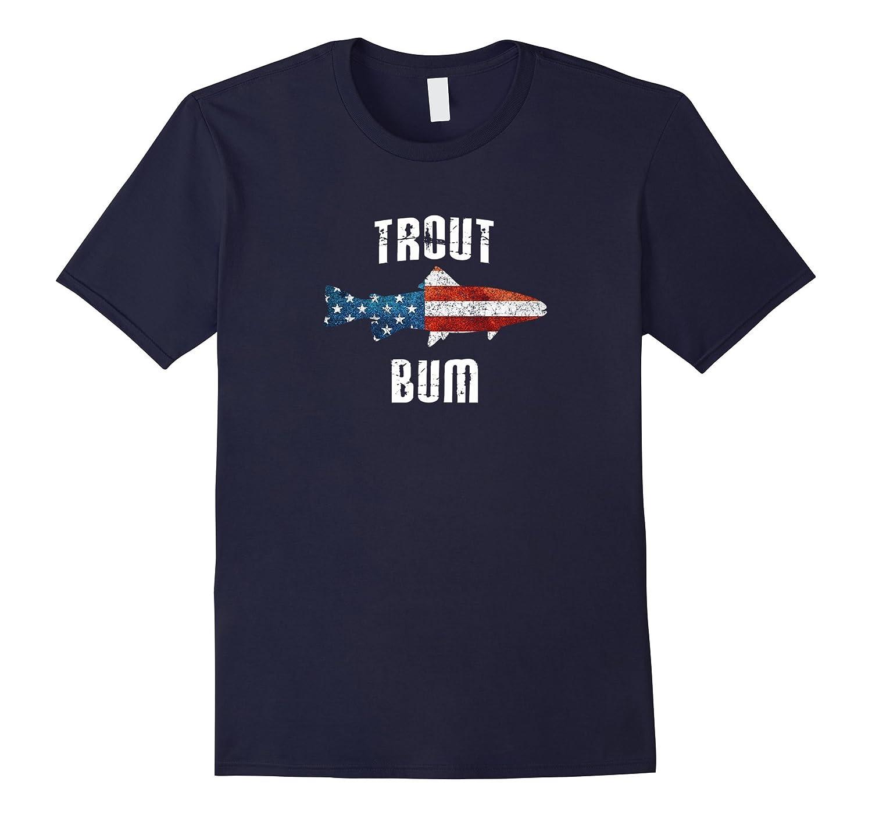 Trout Bum T-shirt American flag Tenkara Trout Outline Gift-Art