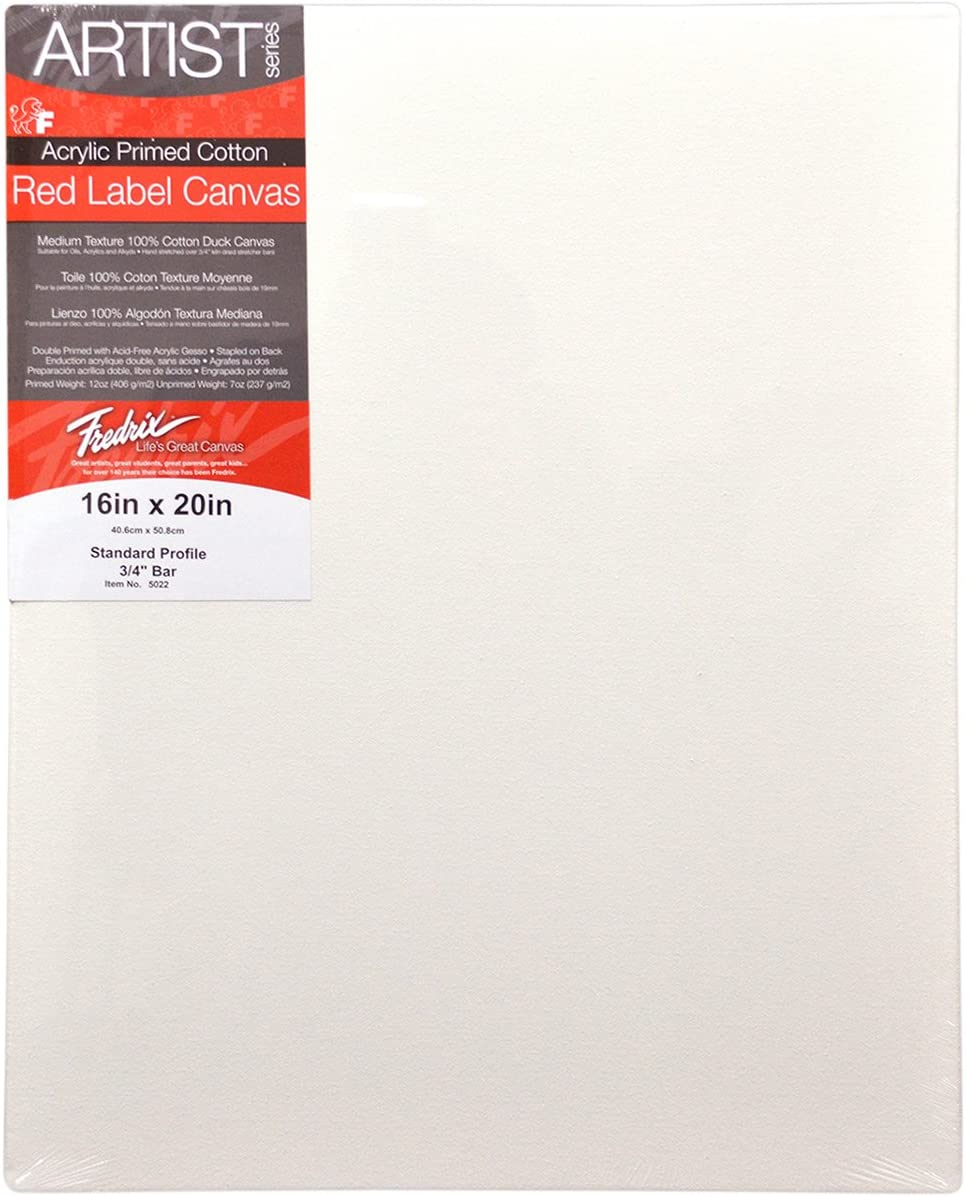 """6 PACK Fredrix Stretched Canvas Artist Series Red Label 16/"""" x 20/"""""""