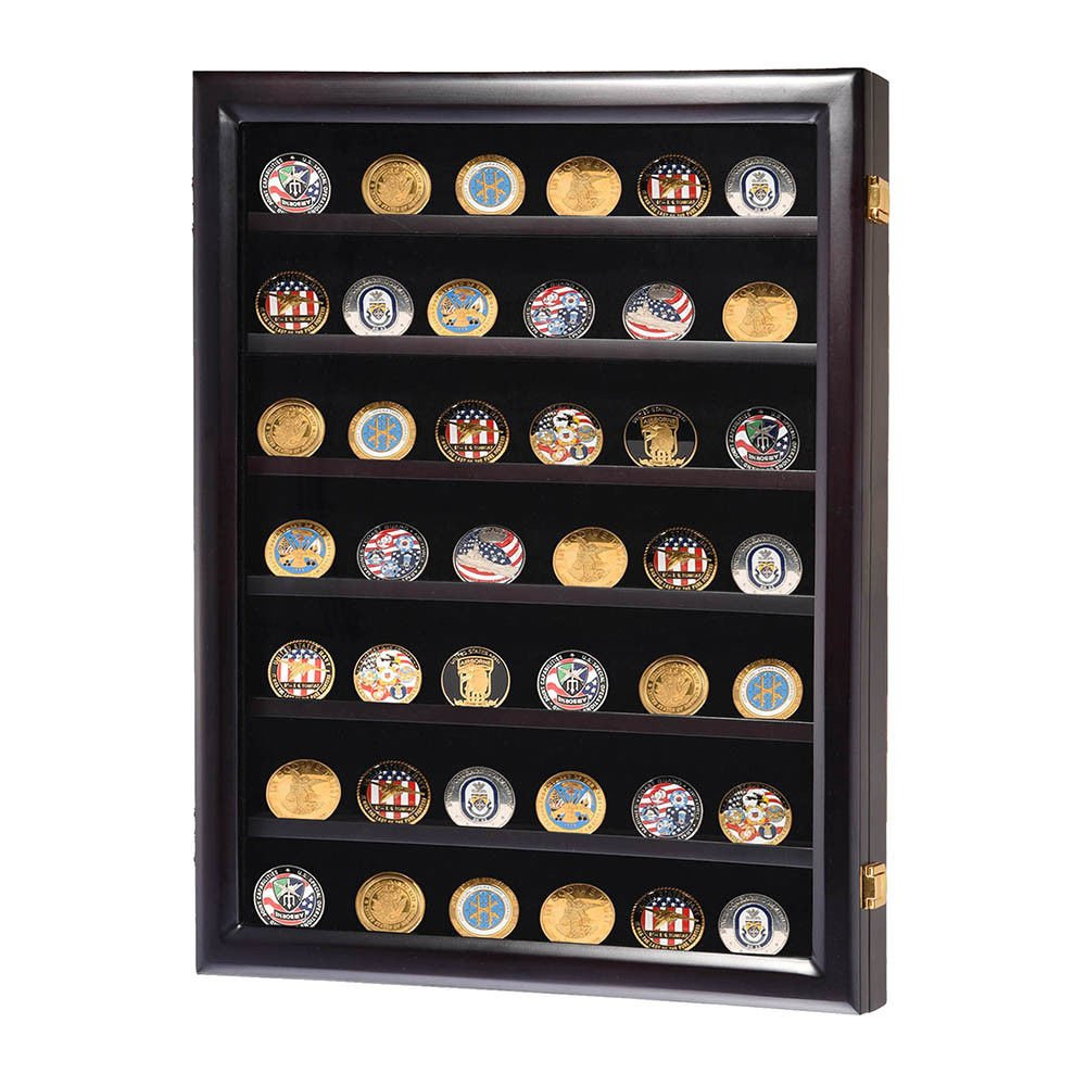Display Cabinet Wall Box Coin Military Challenge Frame Wood Case Casino Chip Shadow by Alek...Shop