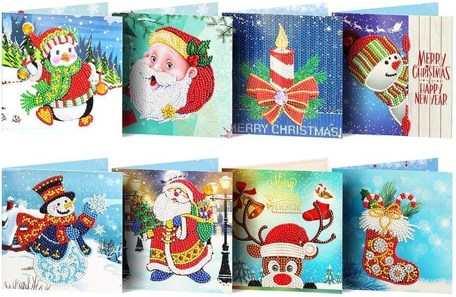 Prosperveil 8 Handgefertigte Grußkarten Zum Selbermachen Speziell Geformte Diamantmalerei Weihnachtskarten Kit Mit Leeren Umschlägen Für Weihnachten Geburtstag Kinder Basteln Geschenk Stil A Bürobedarf Schreibwaren