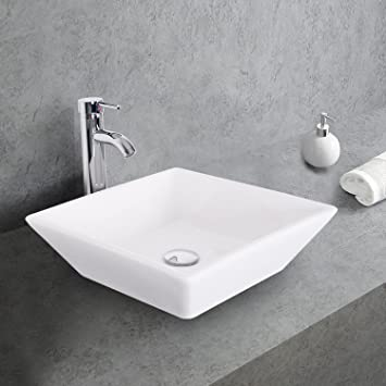 1 5 Gpm Counter Top White Square Porcelain Ceramic Sink Bowl White Square Bathroom Vessel Sink Combo