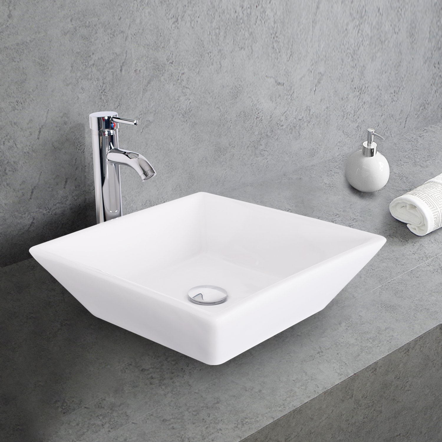 1.5 GPM Counter Top White Square Porcelain Ceramic Sink Bowl White Square Bathroom Vessel Sink Combo with Chrome Solid Brass Faucet and Pop Up Drain for Bath