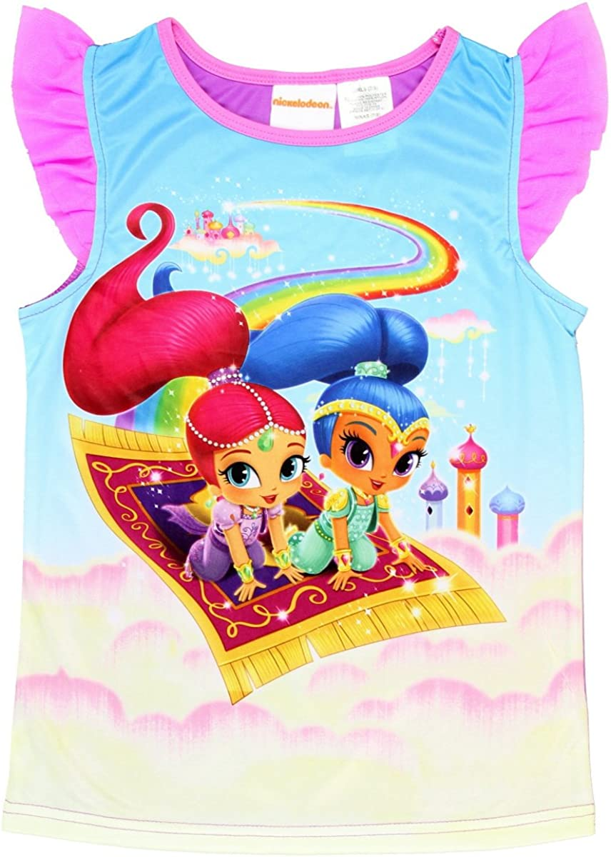 Girls Kids Shimmer and Shine Nightie Pyjamas Short Sleeve Nightdress 2 to 6 Yr