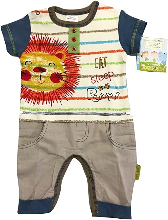 2c28645a3 Hooligans Kids Gorgeous Boys Khaki and Navy Blue Romper Playsuit with Fun  Lion Theme. Beautiful