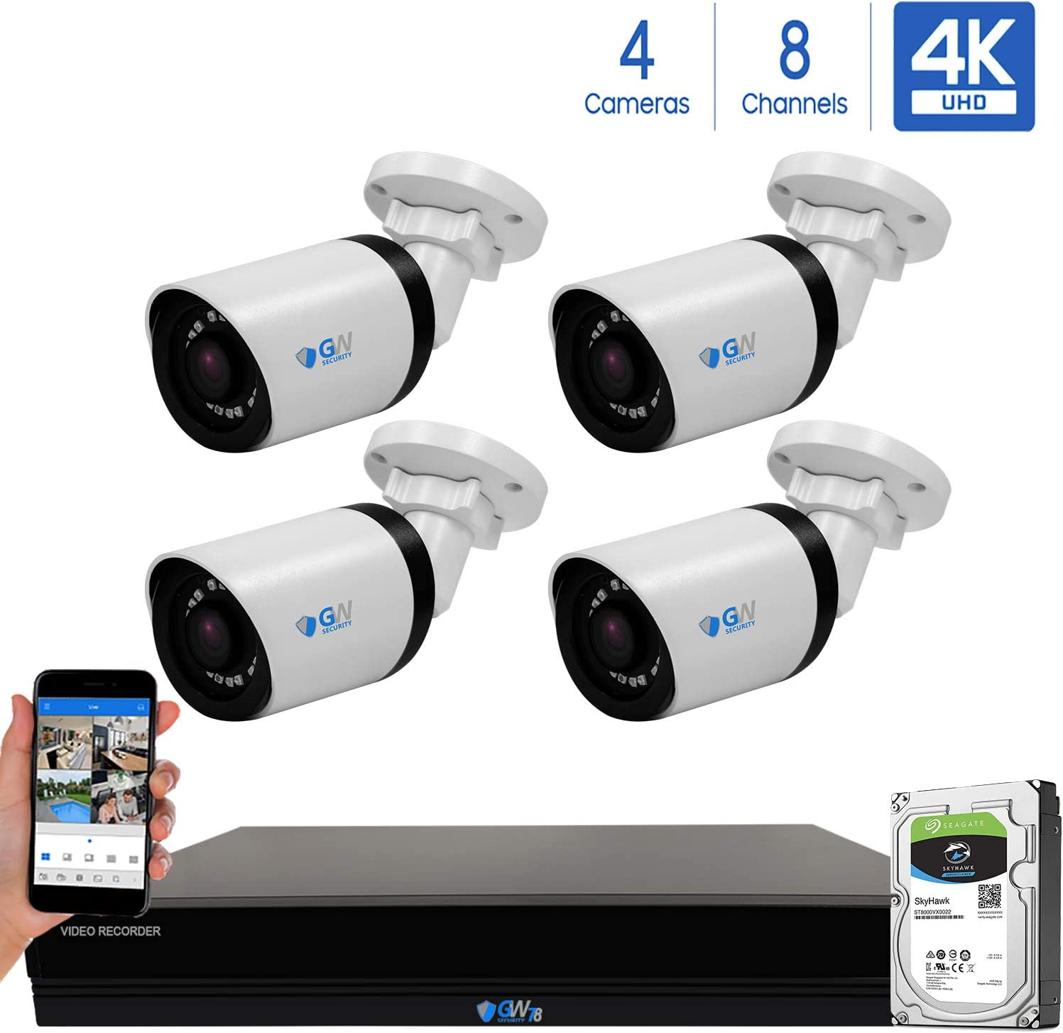 GW 8 Channel 4K H.265 CCTV DVR Security System with 4 x HD 8MP 2160P Outdoor Indoor 4K Bullet Security Cameras, 100ft Night Vision, 2TB Hard Drive Pre-Installed