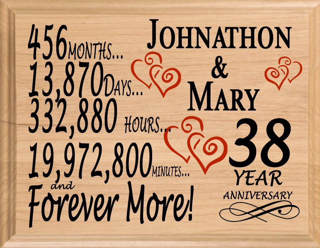 Broad Bay 38 Year Personalized 38th Anniversary Wedding Gift for Wife Husband Couple Him Her