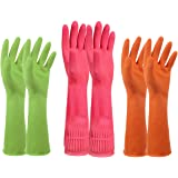 Household Rubber Latex Cleaning Gloves – PEGZOS Reusable Kitchen Natural Rubber Living Wash Gloves, Mother's Day Gifts, with 3 Colors (Green, Orange, Pink) / 3 Sizes (Small, Medium, Large) (M)