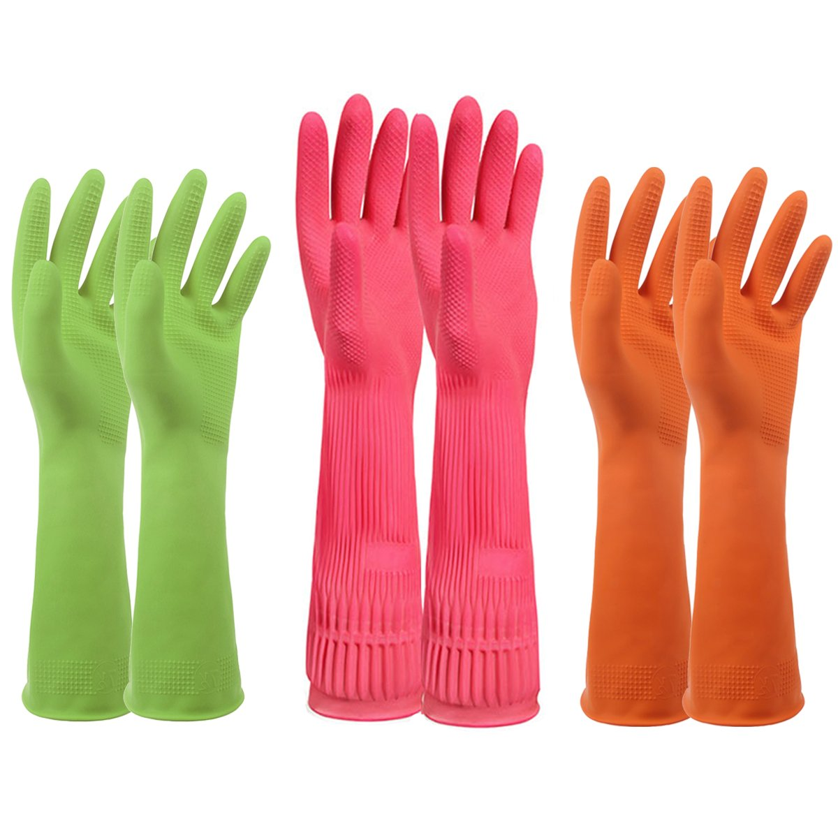 Household Rubber Latex Cleaning Gloves – PEGZOS Reusable Kitchen Natural Rubber Living Wash Gloves, with 3 Colors (Green, Orange, Pink)/3 Sizes (Small, Medium, Large) (M)