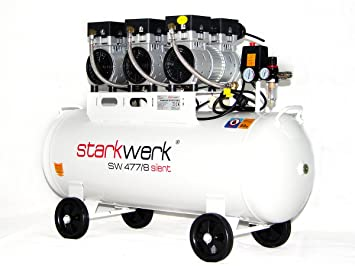Starkwerk Silent Druckluft Kompressor SW 477/8 Ölfrei 100L Kessel ...