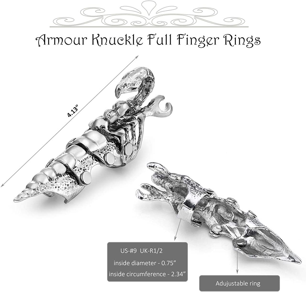 PiercingJ Mens Knuckle Joint Full Finger Double Ring Punk Rock Gothic Hinged Activity Rings Halloween Cosplay Costume Accessories Jewelry