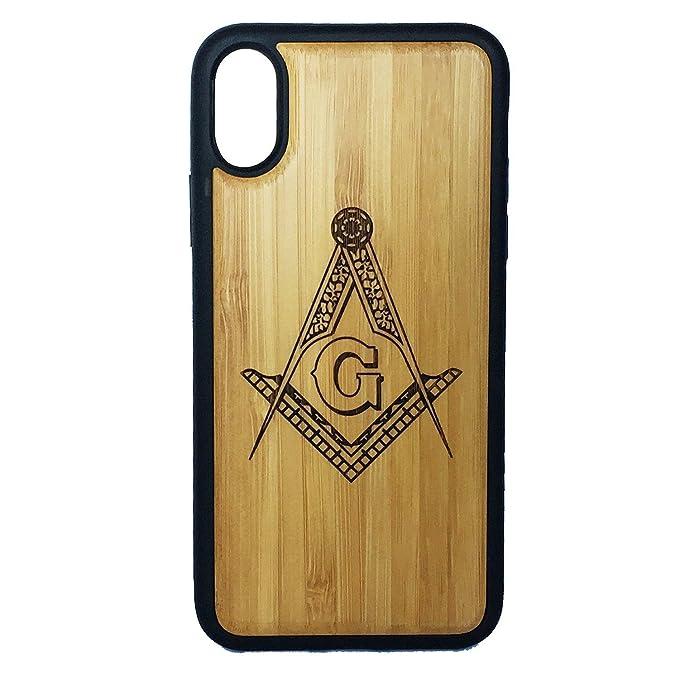 Freemasons Phone Case Cover for iPhone X by iMakeTheCase | Bamboo Wood  Cover + TPU Wrapped Edges | Freemasonry Masonic Square & Compasses Symbol |