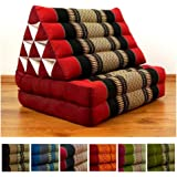 2 Fold Thai Mat with XXL Jumbo Triangle Cushion / Headrest & 100% Kapok Filling (red / black)