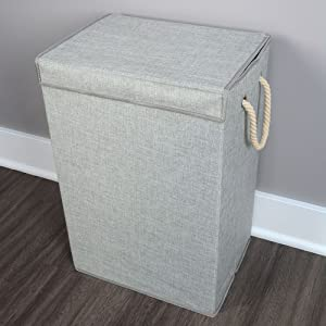 Closet Storage Collapsible Cloth Laundry Hamper with Rope handles and Lid