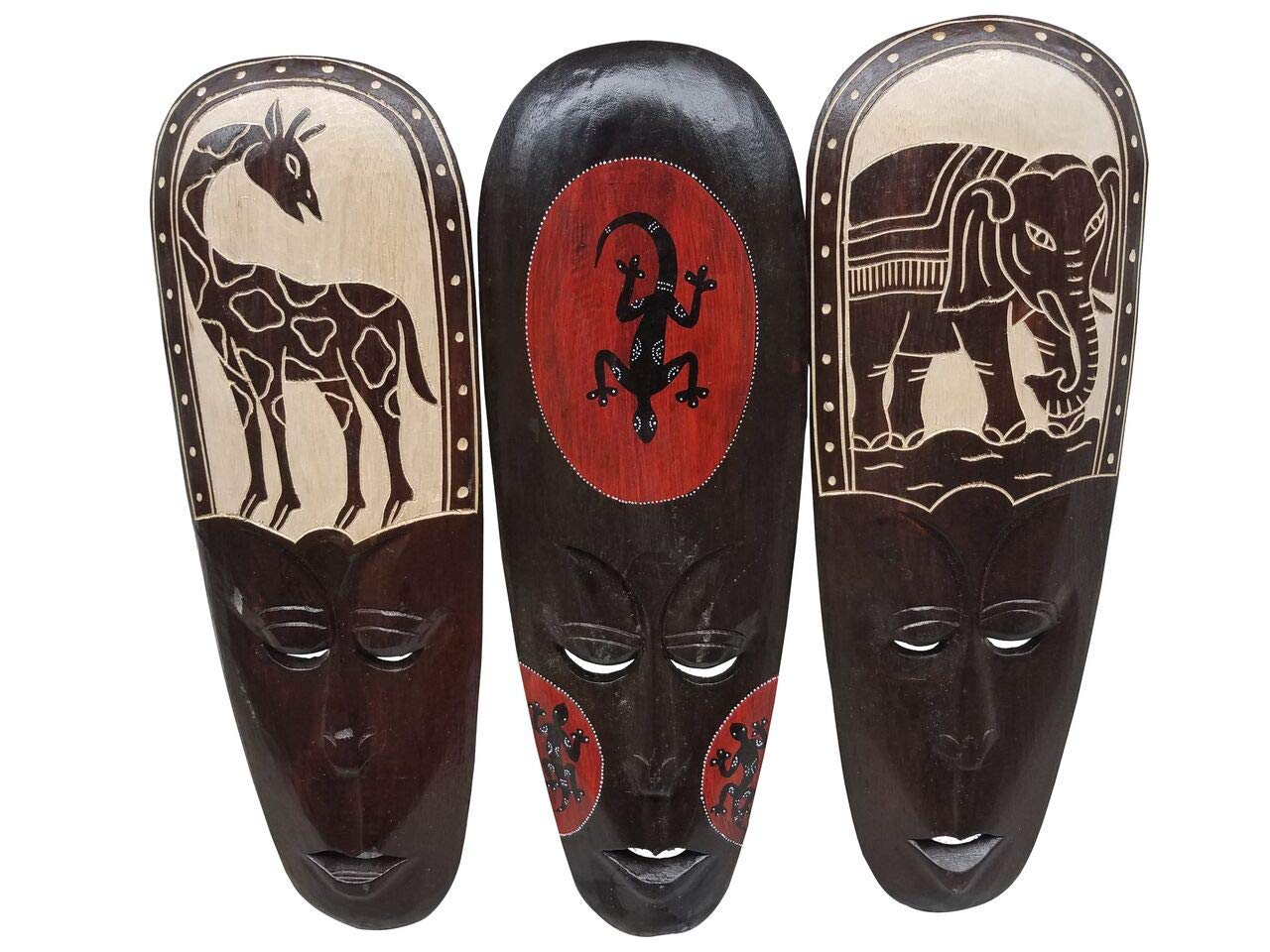 All Seas Imports Gorgeous Unique Hand Chiseled Elephant, Giraffe, Gecko Set of (3) Wood African Style Wall Decor Masks with Beautiful Design! by All Seas Imports