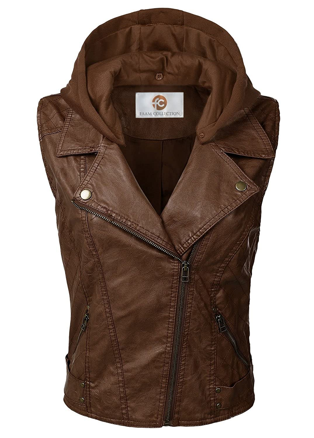 Faam Collection Special Brown Lambskin Leather Hood with Fabric Hood for Women