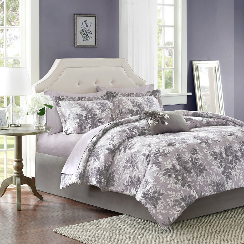 Madison park essentials shelby comforter set king size bed in a bag purple floral 9 piece bed sets ultra soft microfiber teen bedding for girls