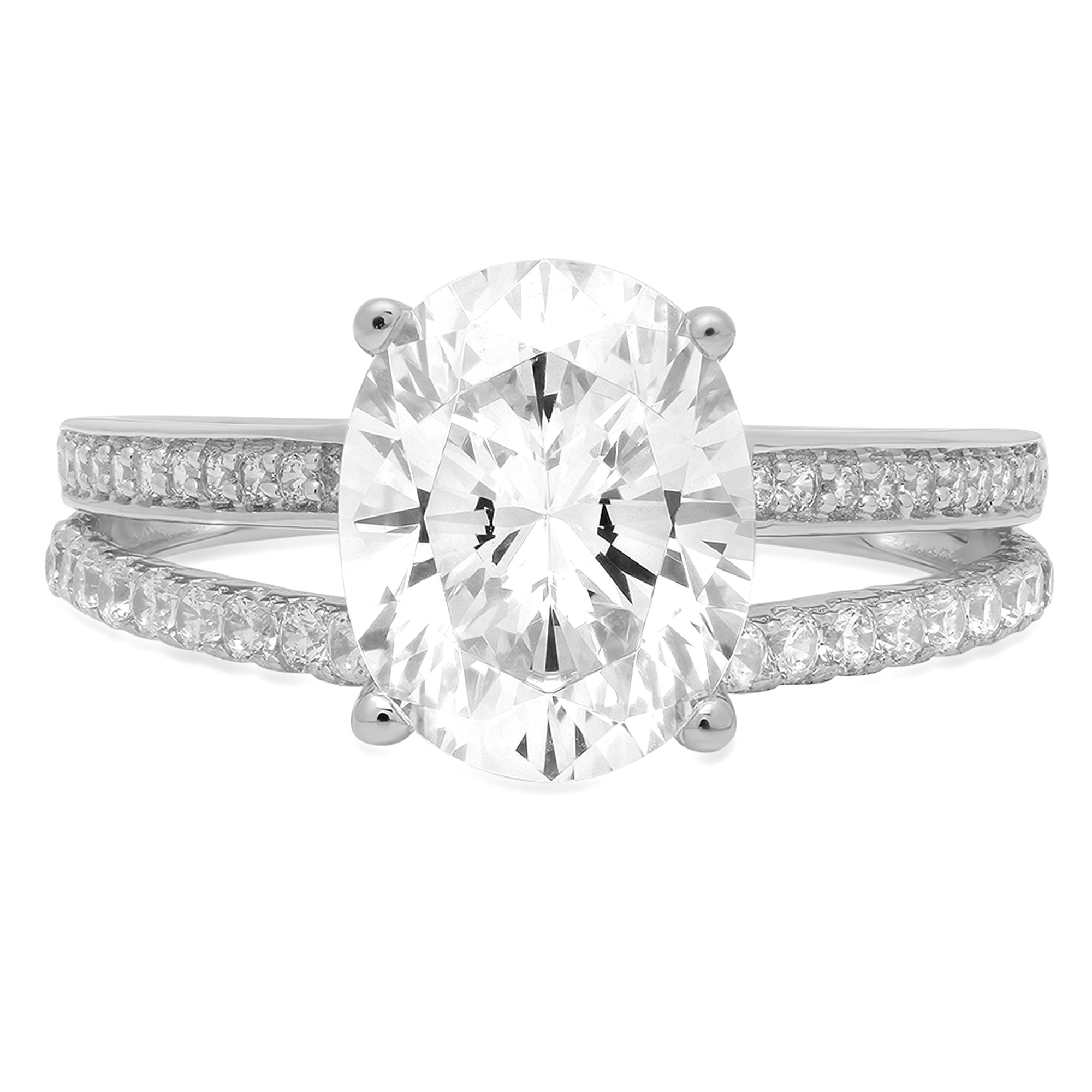 2.2ct Brilliant Oval Cut Simulated Diamond Solitaire Statement Ring Jewelry in Solid 14K White Gold for Women, 4.25