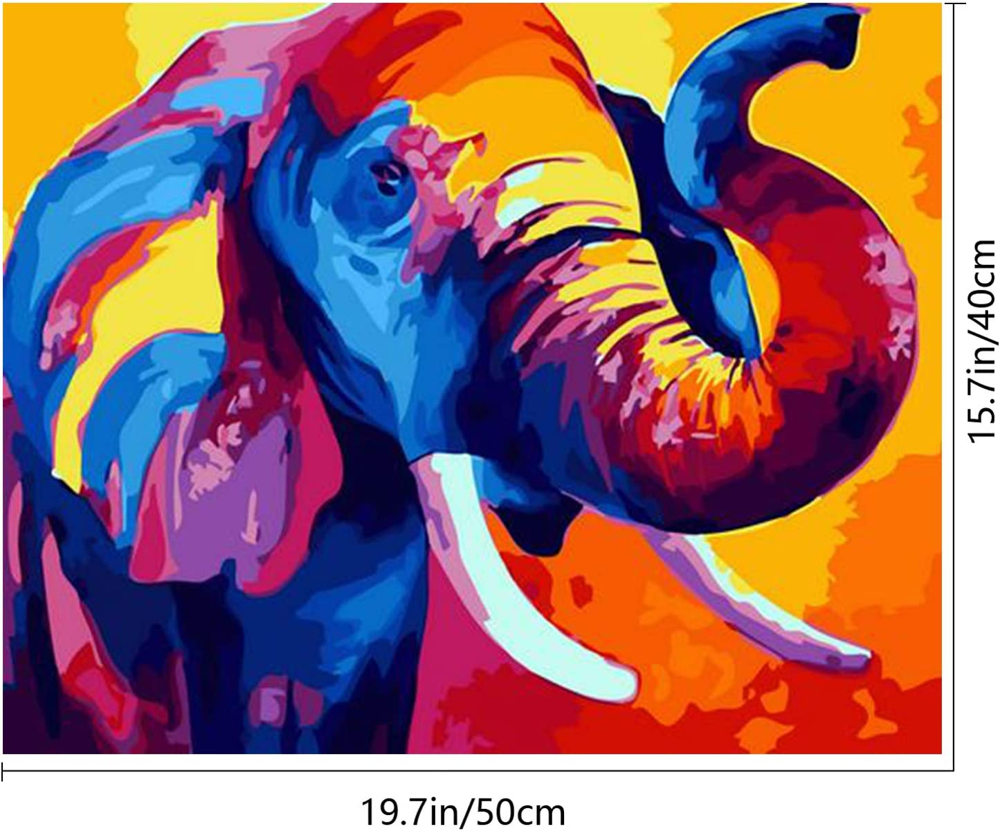 """SENWANG Paint by Number for Adult Oil Painting Canvas Kits 16/"""" x 20/"""" Paintwork with 58 Brushes Pigments Art Crafts for Home DIY Wall Decor Vintage Elephant"""