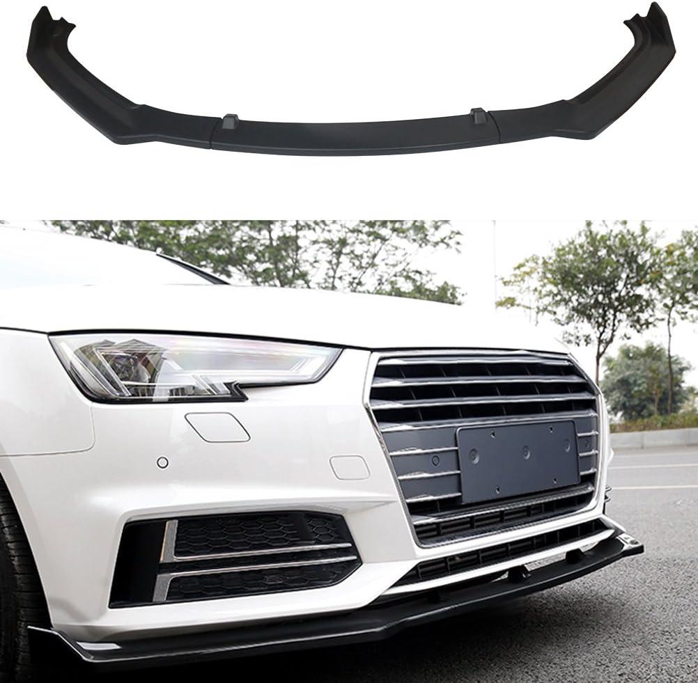 S4 Sedan Unpainted 3pcs-ABS YOUNGERCAR Front bumper lip Paintable Black Spoiler for 2017 2018 Audi A4 B9