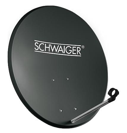 SCHWAIGER -135- Satellitenschüssel, Sat Antenne mit LNB Tragarm und Masthalterung, Sat-Schüssel aus Stahl, 55 x 62 cm