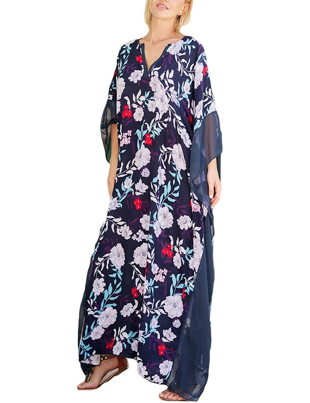 f6305c5abb Bsubseach Women Bathing Suits Cover Up Ethnic Print Kaftan Beach Maxi Dress  YM1900-5