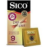 Sico  Piel con Piel - Condones Sin Látex Color natural, cartera con 9 piezas