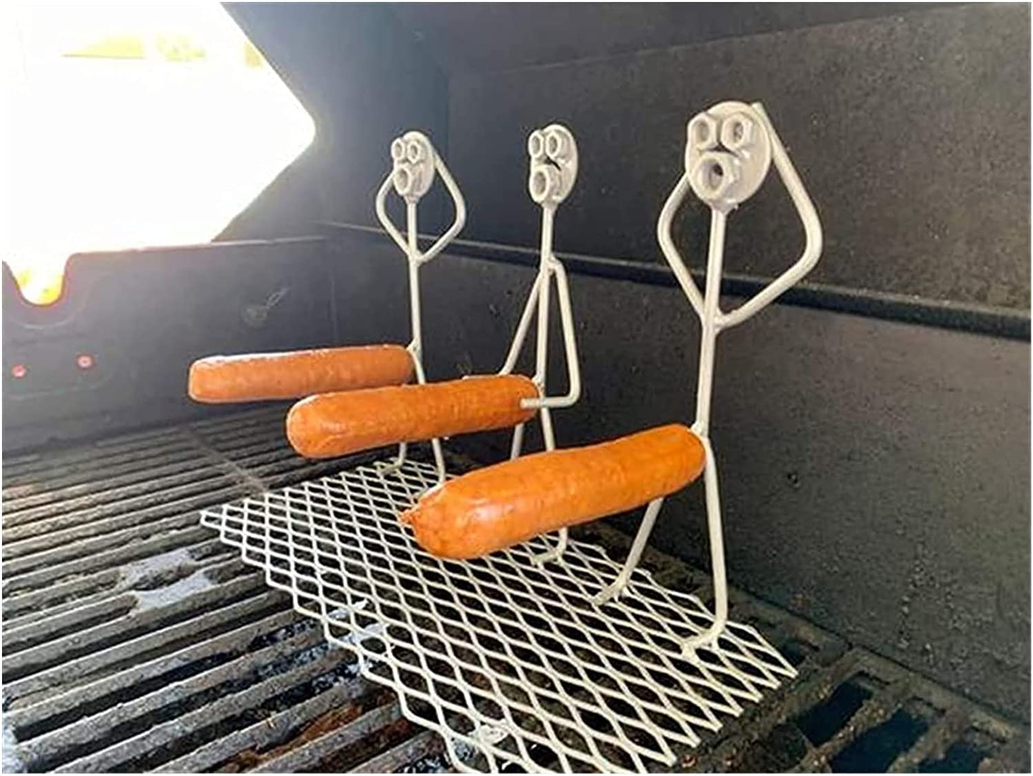 Steel Hot Dog/Marshmallow Roaster Stainless Steel Novelty Women Men Shaped Camp Fire Roasting Stick Funny Metal Barbecue Forks for Campfire and Grill Craft Skewer (3 Hot Dog Guys)