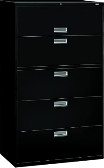 Amazon Com Hon 5 Drawer Filing Cabinet 600 Series Lateral Or Legal Filing Cabinet 42w By 19 1 4d 5 Drawer Black H695 Furniture Decor