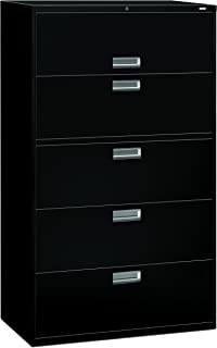 product image for HON 5-Drawer Filing Cabinet - 600 Series Lateral or Legal Filing Cabinet, 42w by 19-1/4d, 5-Drawer, Black (H695)