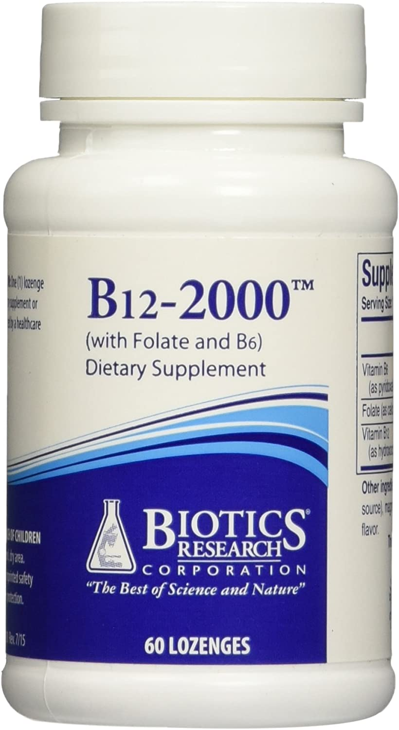 Biotics Research – B12-2000 with Folic Acid and B6 – 60 Lozenges